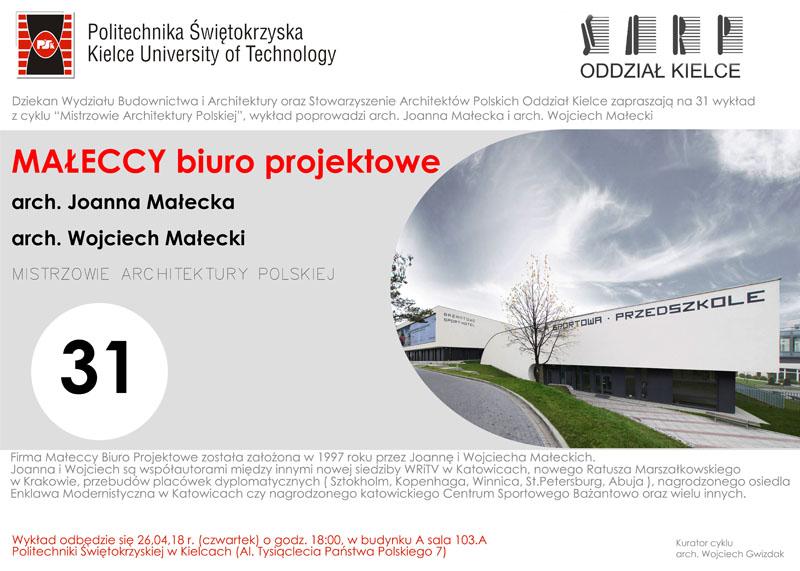"""Wykład """"Mistrzowie Architektury Polskiej"""""""